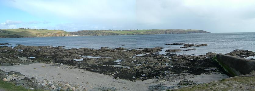 Par Spit Point: Polkerris and Gribbin Head Panorama (Photograph by Carol)